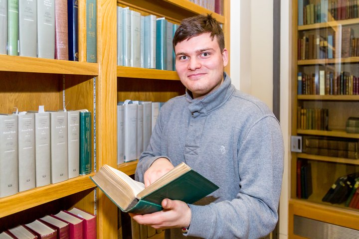 English Literature student Connor Skivington at The Wordsworth Trust,