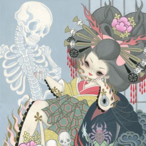 Junko Mizuno - Jigoku Dayu 2013, cartoon womaan smiling and holding hands with a skeleton on a blue background