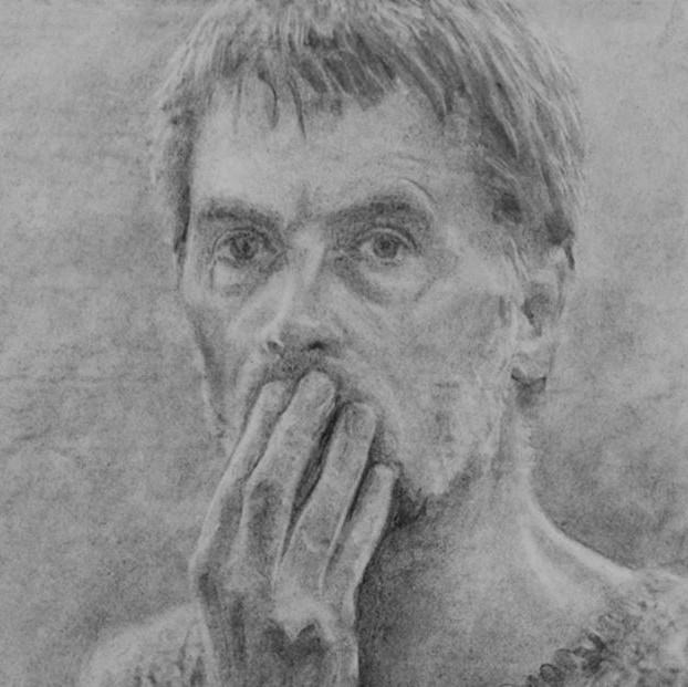 Black and white drawing of a man covering his mouth, by Alan Stones