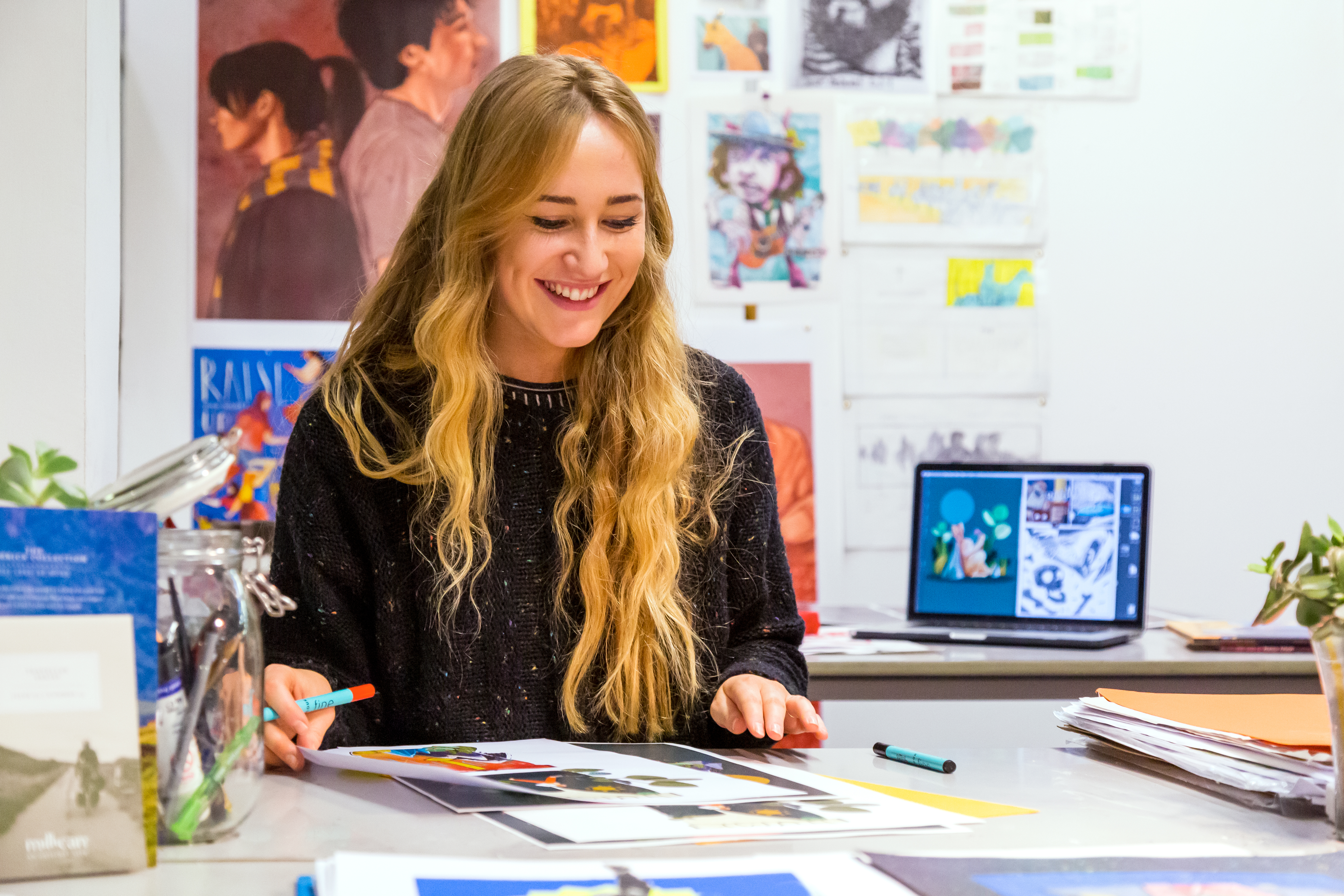 Illustration student Hannah graham in illustration and graphic design studio