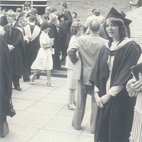 female student at graduation early 1980s