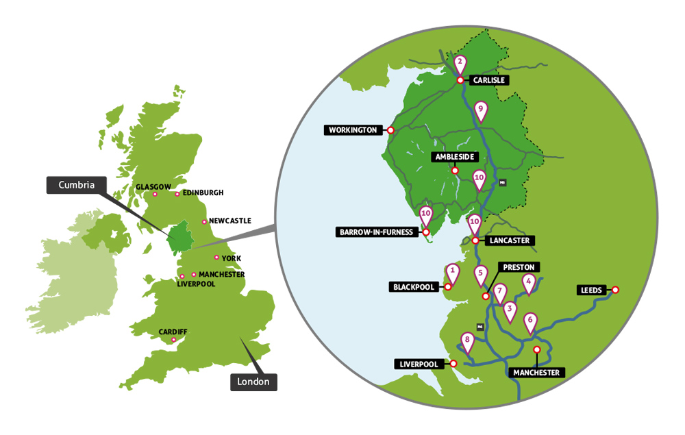 Nursing Placement map, Map of the nursing placement locations