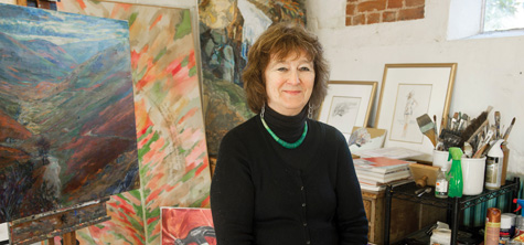Female artist in studio - Margaret Harrison HF