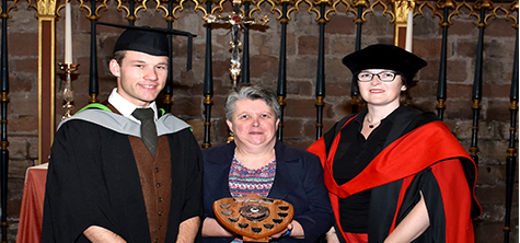 Sam Poultney presented with the Sarah McClay Memorial Prize on 18 July 2019 at graduation Carlisle Cathedral
