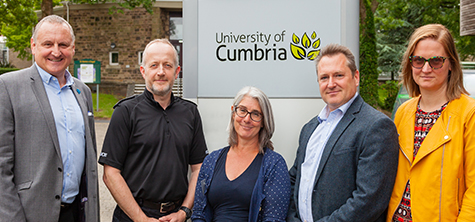 l-r: University of Cumbria policing Lecturer Barry Lees; Chief Inspector Ian Cooper of Lancaster Police; university head of department Dr Caroline Rouncefield and policing lecturers Alex Leek and Dr Lula Mecinska.