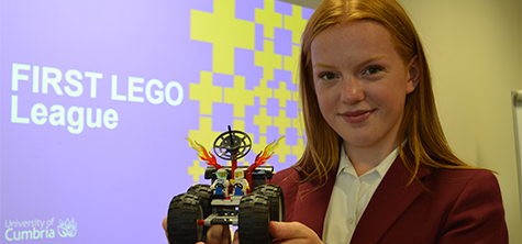 Myesha Pearson, a pupil at Austin Friars School, Carlisle at the launch of the FIRST LEGO League for Carlisle & Eden at the University of Cumbria's Fusehill Street campus, 11 September 2019