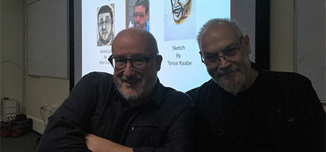 Sculptor and disability rights campaigner Tony Heaton OBE (left) with Professor Robert Williams, Institute of the Arts, University of Cumbria. Tony gave a guest lecture at UoC IoA on 12 December 2019