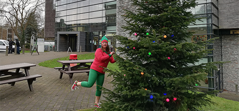 Ceremonies manager Suzanne Forrester dressing up as an elf every day in December 2019 to raise funds for Alzheimer's Society