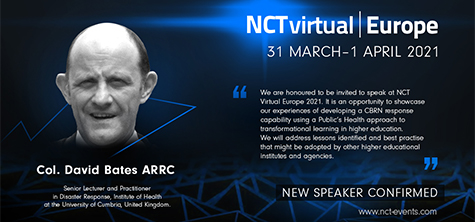 Institute of Health's David Bates speaking at NCT Virtual Europe 2021 for CRBNe specialists. March 2021