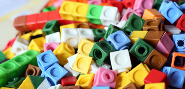Pieces of coloured cubes