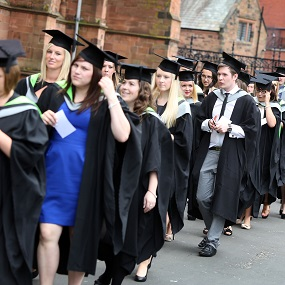 Students walking to their graduation