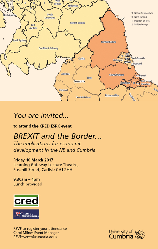 Flyer for the BREXIT and the Border event on 10.03.17